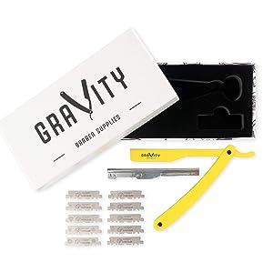 Barber Straight Razor - Stainless Steel Straight Edge Razor with 10 Derby Premium Blades