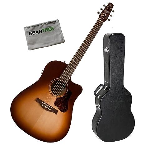 Gaviota séquito ráfaga de otoño CW qit acústica guitarra eléctrica w/funda y gamuza de