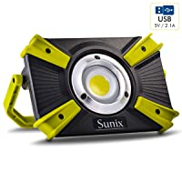 Amazon.com deals on Sunix 30W 1600lm LED Work Spotlights w/5V 2.1A USB Port SU625