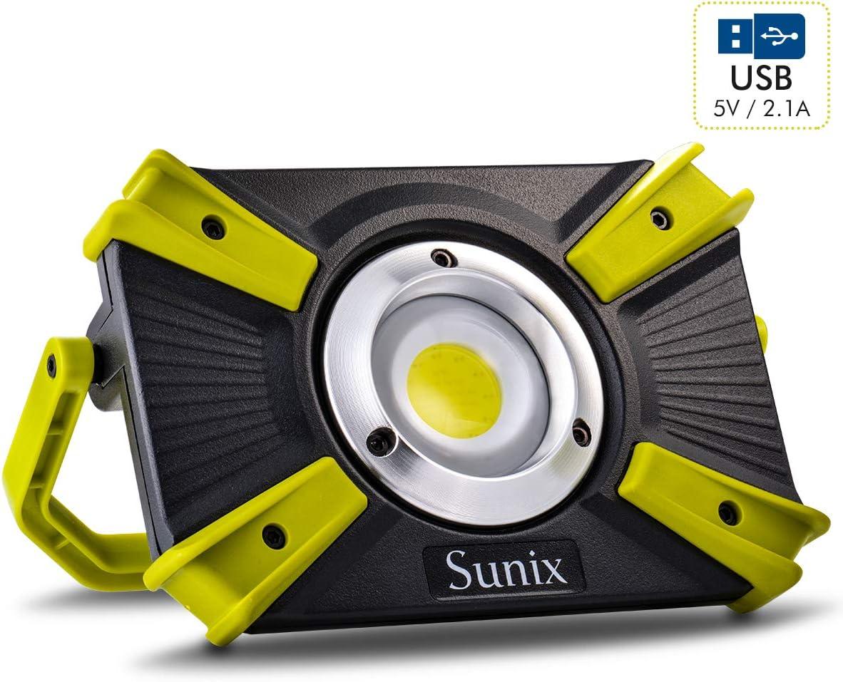 Sunix Foco Led Recargable 30w, Luz de Trabajo 48 Leds con asa Magnética, 4 Modos, Impermeable IP64 con Baterías Recargables Incorporadas 1600LM y Puerto USB Dual y Modo de Emergencia SOS
