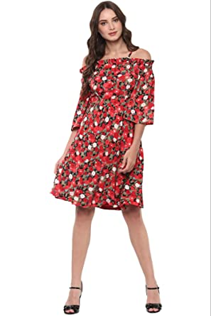 THE VANCA Women Overlay Panel Midi Dress With Assymetric Hemline (L