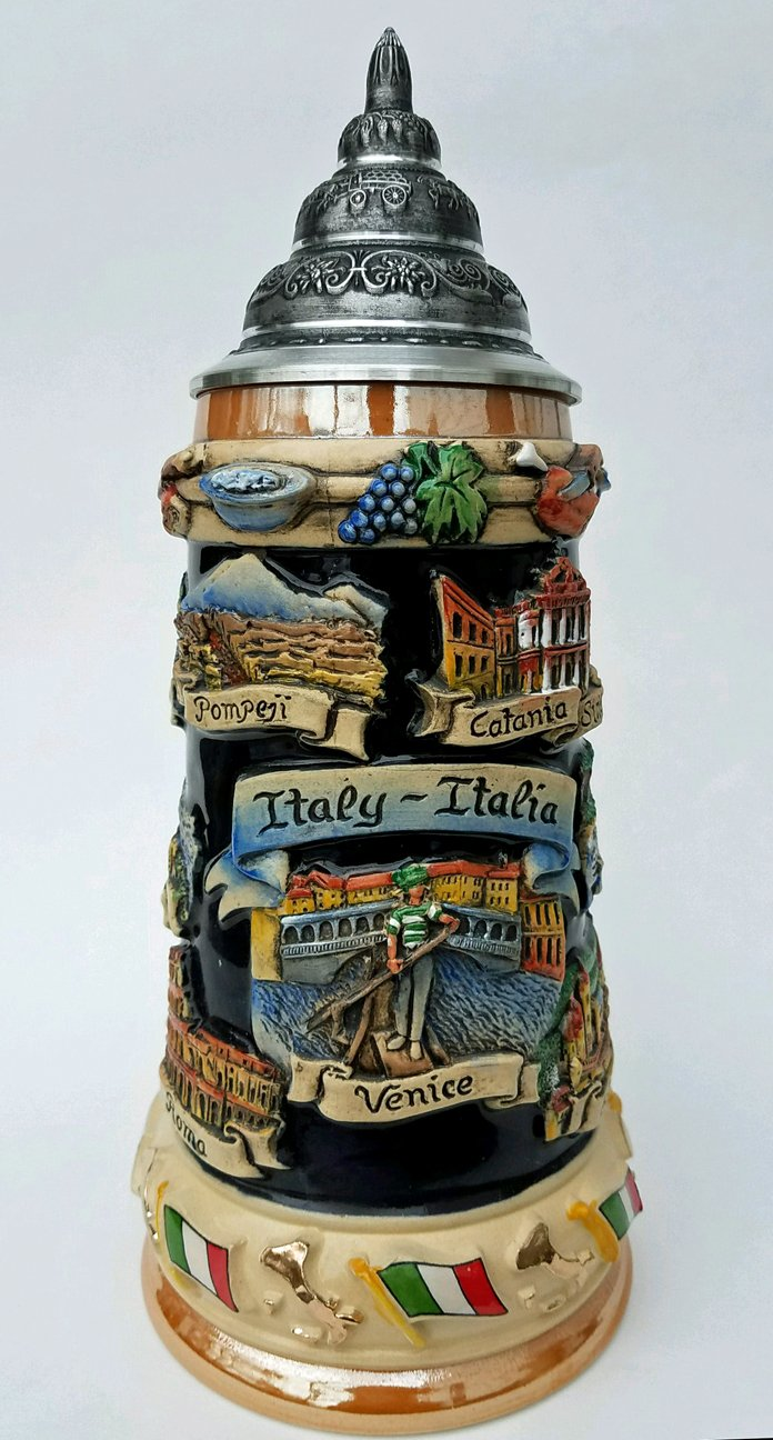 Italy Beer Stein | Italy Panorama Hand Painted German Beer Stein with Pewter Lid By King Werk. Italia Stoneware Beer Stein Made in Germany