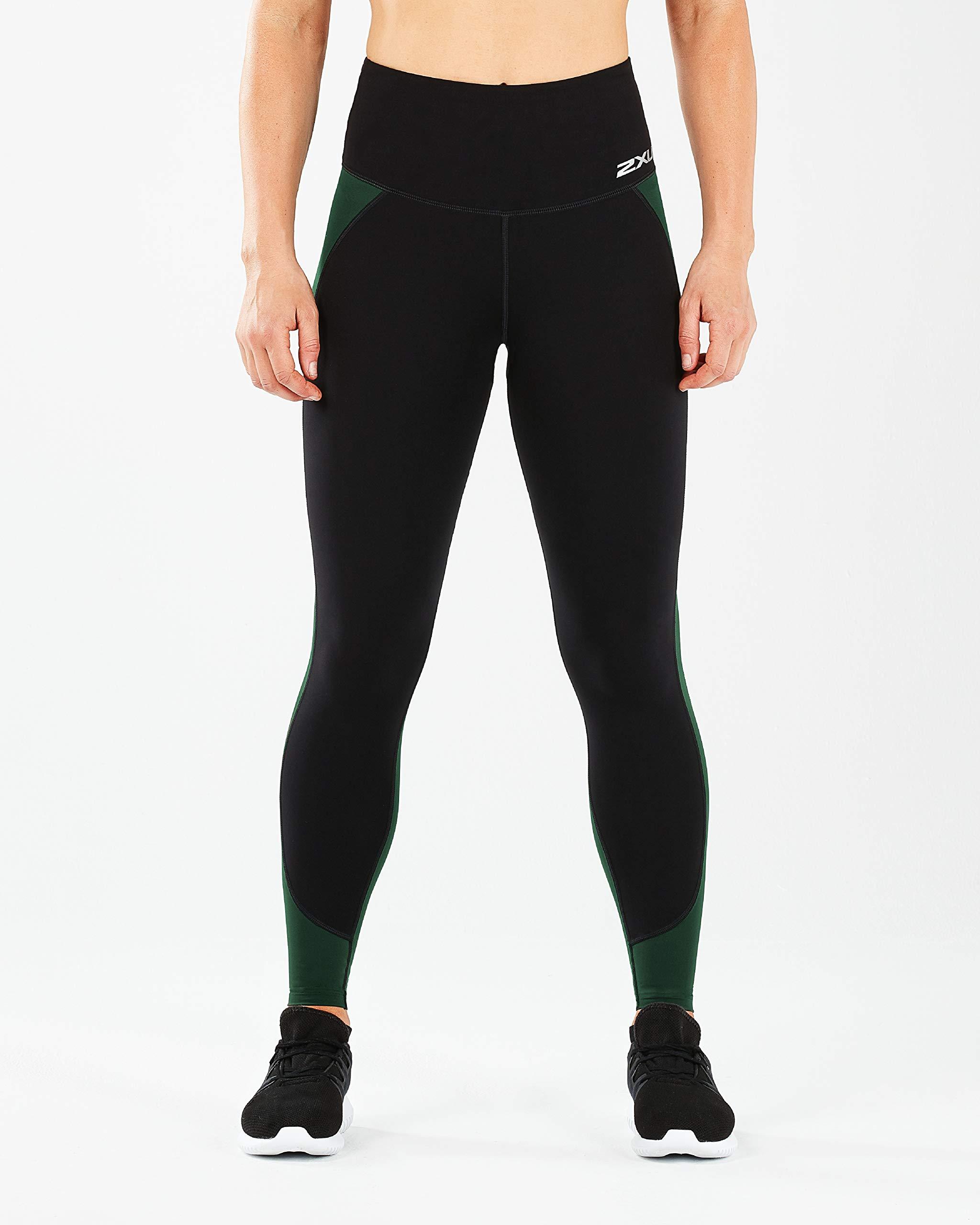 2XU Women's Fitness Hi-Rise Comp Tights, Black/Mountain View, XL-R by 2XU