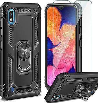 AROYI Funda Samsung Galaxy A10 + Cristal Templado, 360 Anillo iman ...