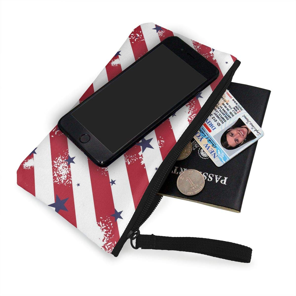 Womens Canvas Coin Wallet Zipper Small Purse Wallets Red Lines Pattern