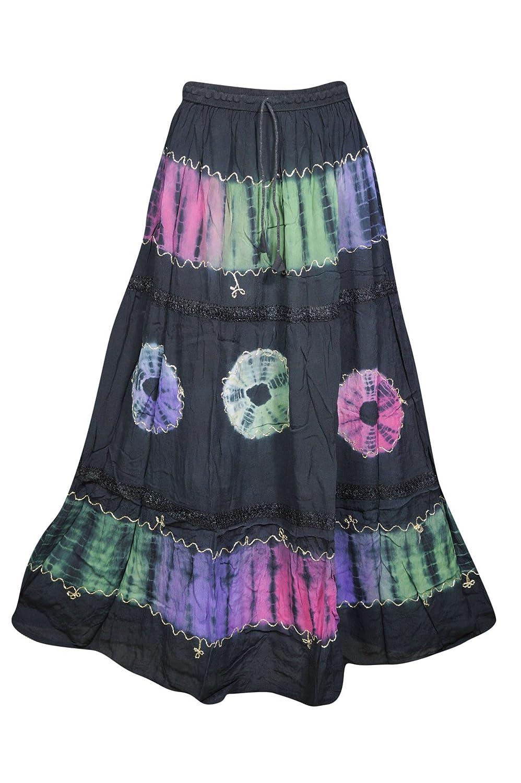 5047357fb8 Amazon.com: Womens Maxi Skirt Vintage Tie Dye Flare Summer City Chic Flirty  Gypsy Long Skirt (Black 11): Clothing