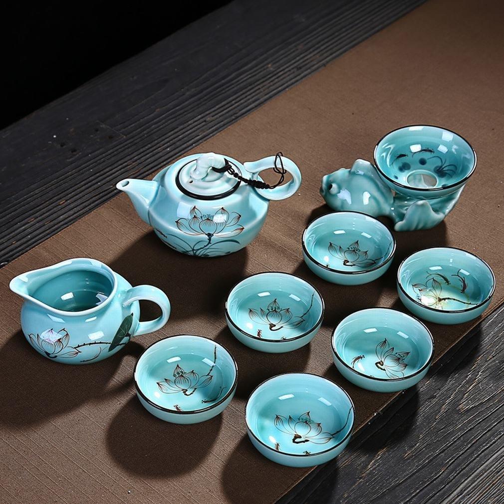 L Y Celadon Cup Tee-Set Paket Komplette Tintenfisch-Tee-Set Benutzerdefinierte Tee Tasse Cover Hand Gezeichnet