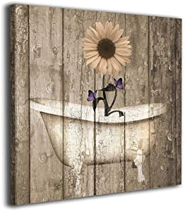 Colla Canvas Print Brown Purple Rustic Sunflower Butterflies Bathtub Vintage Wall Art Contemporary Decorative Picture Paintings Wall Decor for Bathroom Living Room Framed Ready to Hang 12x12 Inches