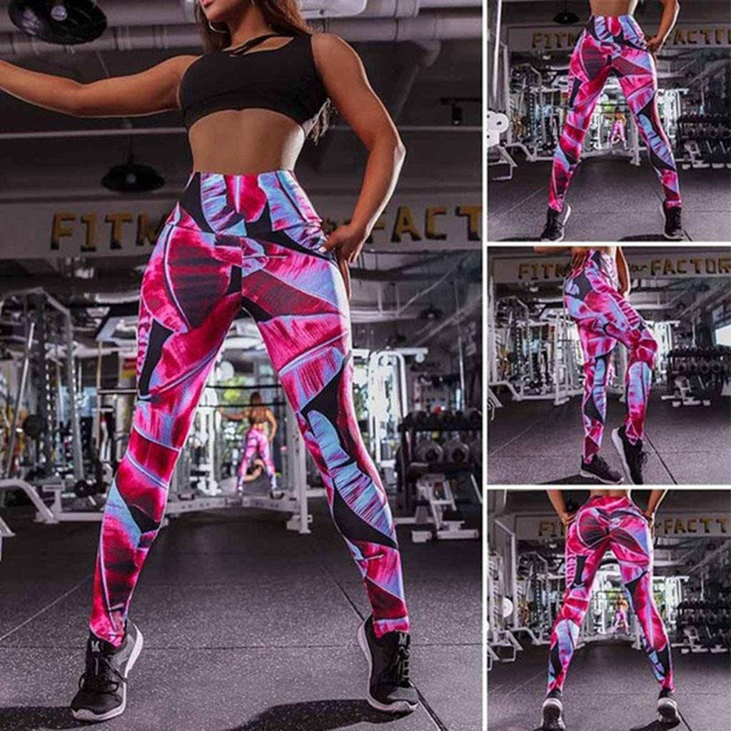 PLENTOP Yoga Pants for Women Mesh Panels, Capri Leggings Women,Women's Fashion Workout Leggings Fitness Sports Gym Running Yoga Athletic Pants Pink by PLENTOP (Image #2)