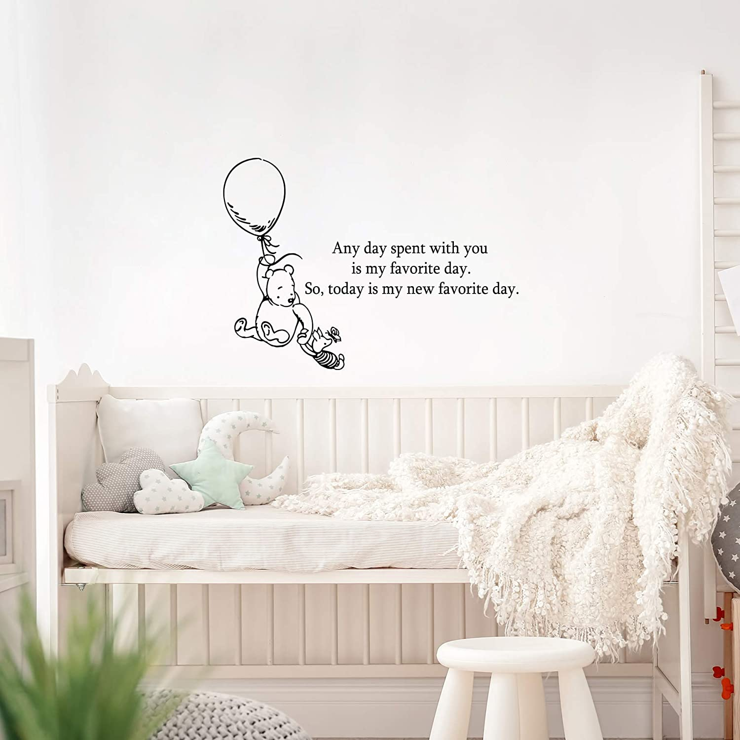 AM59 Winnie the Pooh Quotes Decal for Nursery Any Day Spent with You is My Favorite Day Illustration Art Print Nursery Kids Wall Art Decor 18x13