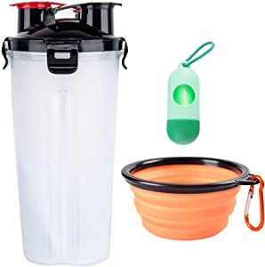 CLOVOCK White Travel Water Bottle, 2 in 1 Portable Dog Water Dispenser and Food Container with 1 Collapsible Bowl for Your Pets Walking and Traveling