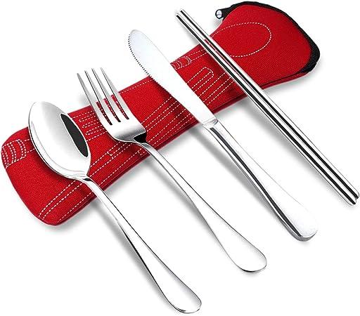 Wayber - Juego de 4 Cubiertos de Acero Inoxidable portátiles para Camping (Palillos para Tenedor de Knife, Funda de Neopreno Suave, ecológica, Ideal ...