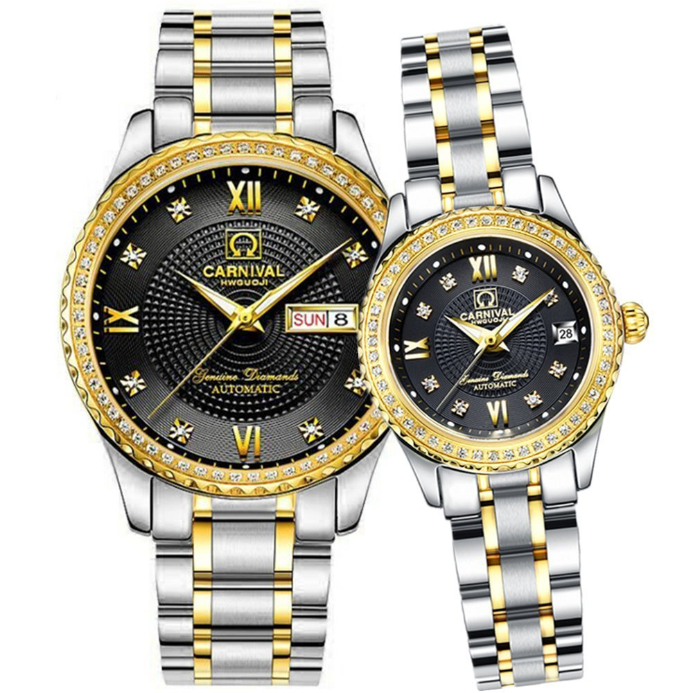 Men and Women Automatic Mechanical Watch Couple Sapphire Glass Watches Romantic for Her or His Gift Set 2 (Silver Gold Black)
