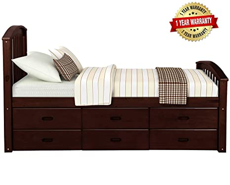 hot sale online 64327 37cc7 Twin Size Platform Storage Bed Solid Wood Bed with 6 Drawers