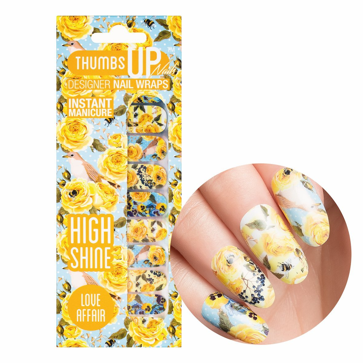 ThumbsUp Nails Love Affair Vintage Floral Nail Wraps / Self-adhesive / Nail Foil Polish Strips / Full Coverage Nail Art Stickers / 20 Wraps Per Pack