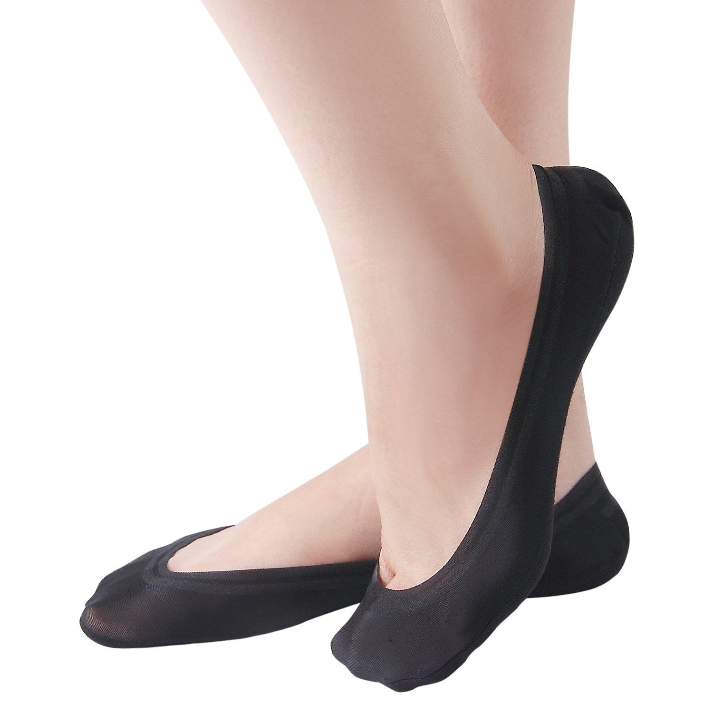 Women's Cotton Nylon No Show Low Cut Liner Invisible Casual Non Slip Boat Socks 4 Pairs