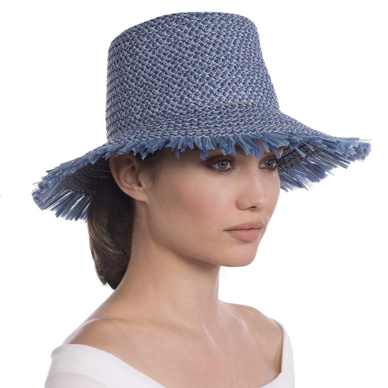Eric Javits Luxury Fashion Designer Women's Headwear Hat - Tiki Bucket - Denim