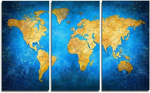 Faicai Art General Yellow World Map Gemälde ... - Amazon.de