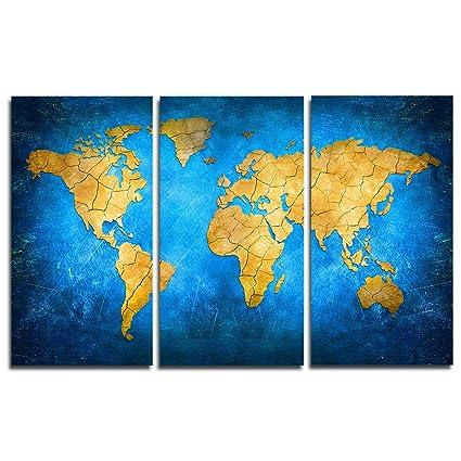 Amazon Com Faicai Art General Yellow World Map Paintings