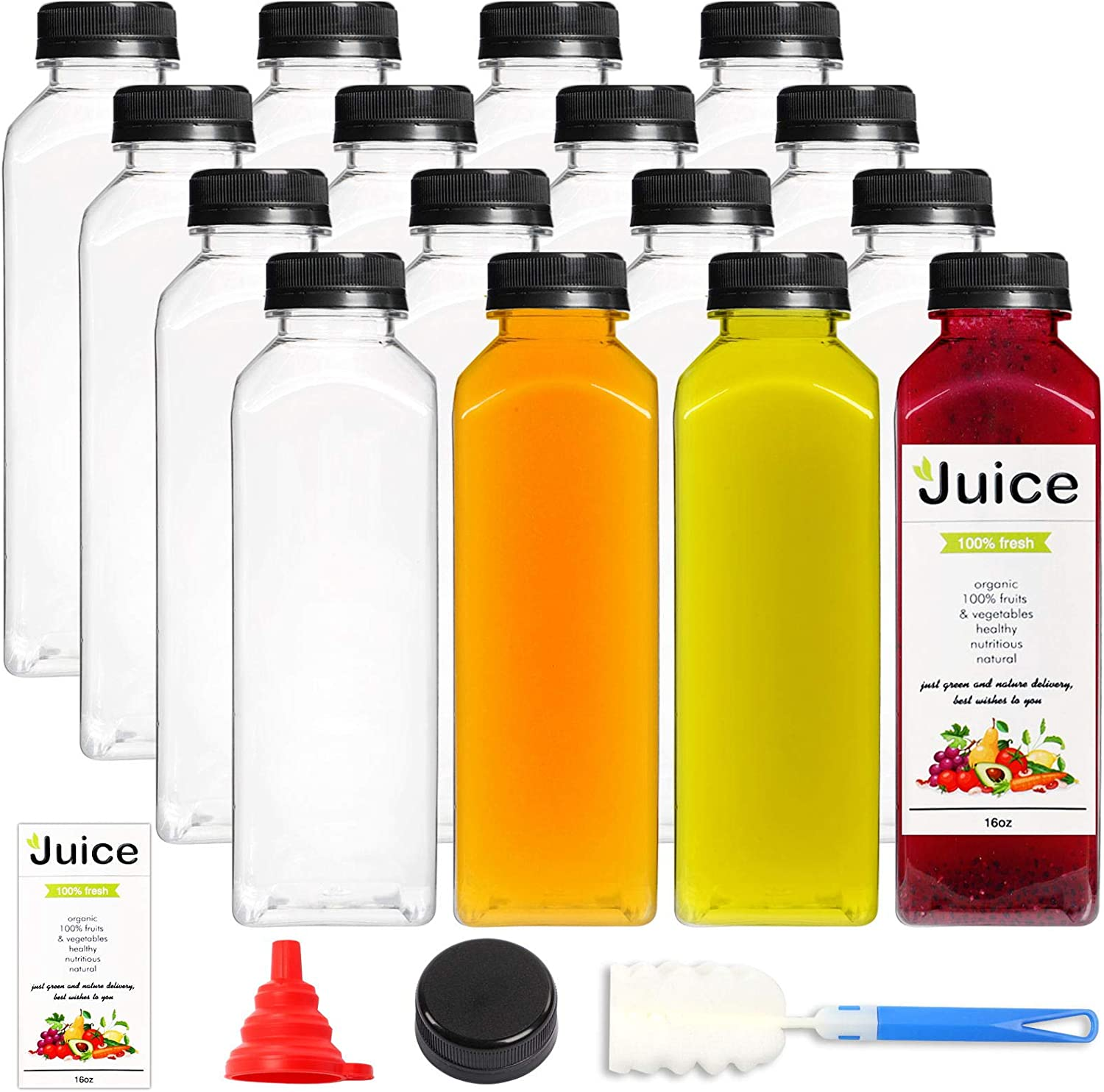 16pcs 16oz Empty Plastic Juice Bottles with caps, Reusable Clear Bulk Beverage Containers for Juice, Milk and Other Beverages