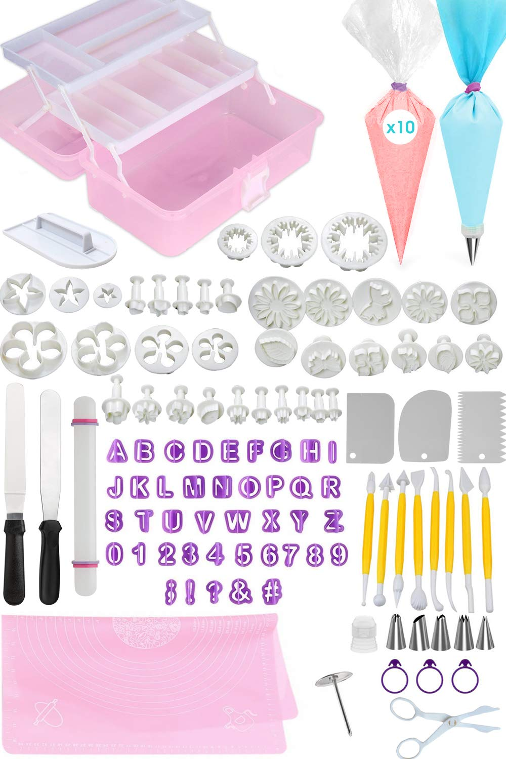 FONDANT TOOLS CAKE DECORATING SUPPLIES - 116pc baking kit, Icing Piping Bags, tips, 2 offset spatula, letter and shape cutters, baking mat, rolling pin, pastry, cookie, cupcake & frosting accessories by Cakes of Eden