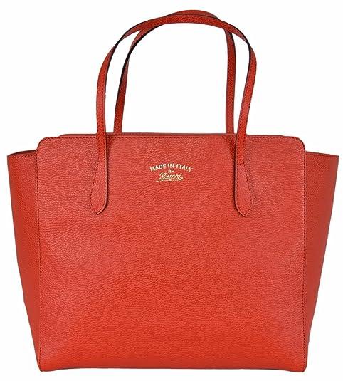 Gucci mujer piel de textura, tamaño mediano, color rojo logotipo de marca Swing Tote