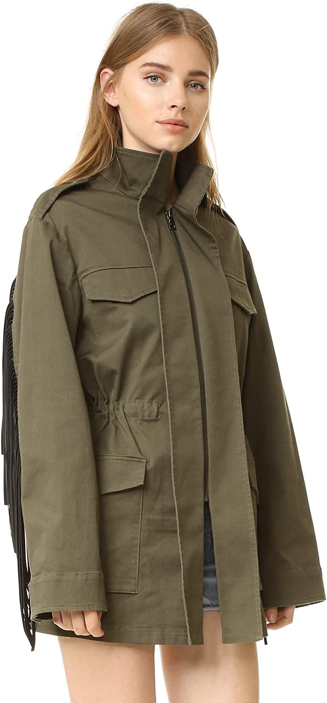 New Small BCBGMAXAZRIA Women/'s Faux Fur Trim Zip Cotton Jacket Tan//Brown Size