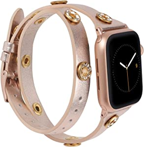 Moolia Double Wrap Band Compatible with Apple Watch Bands 40mm 38mm Women, Slim Leather Double Tour iWatch Bands with Bling Studs Straps Bracelet for Apple Watch Band Series 6 SE 5 4 3 2 1, Rose Gold
