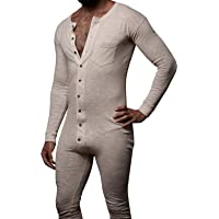 Chuanqi Mens Casual Long Sleeve Button Down Onesie Pajamas Solid Rompers with Pocket