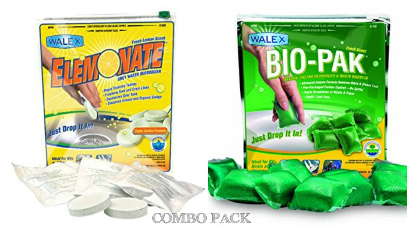 Walex Bio-Pak ELEMBG-BIOPPBG Black Water / Elemonate Gray Water Holding Tank Toilet Treatment Deodorizer Drop Ins Combo Pack