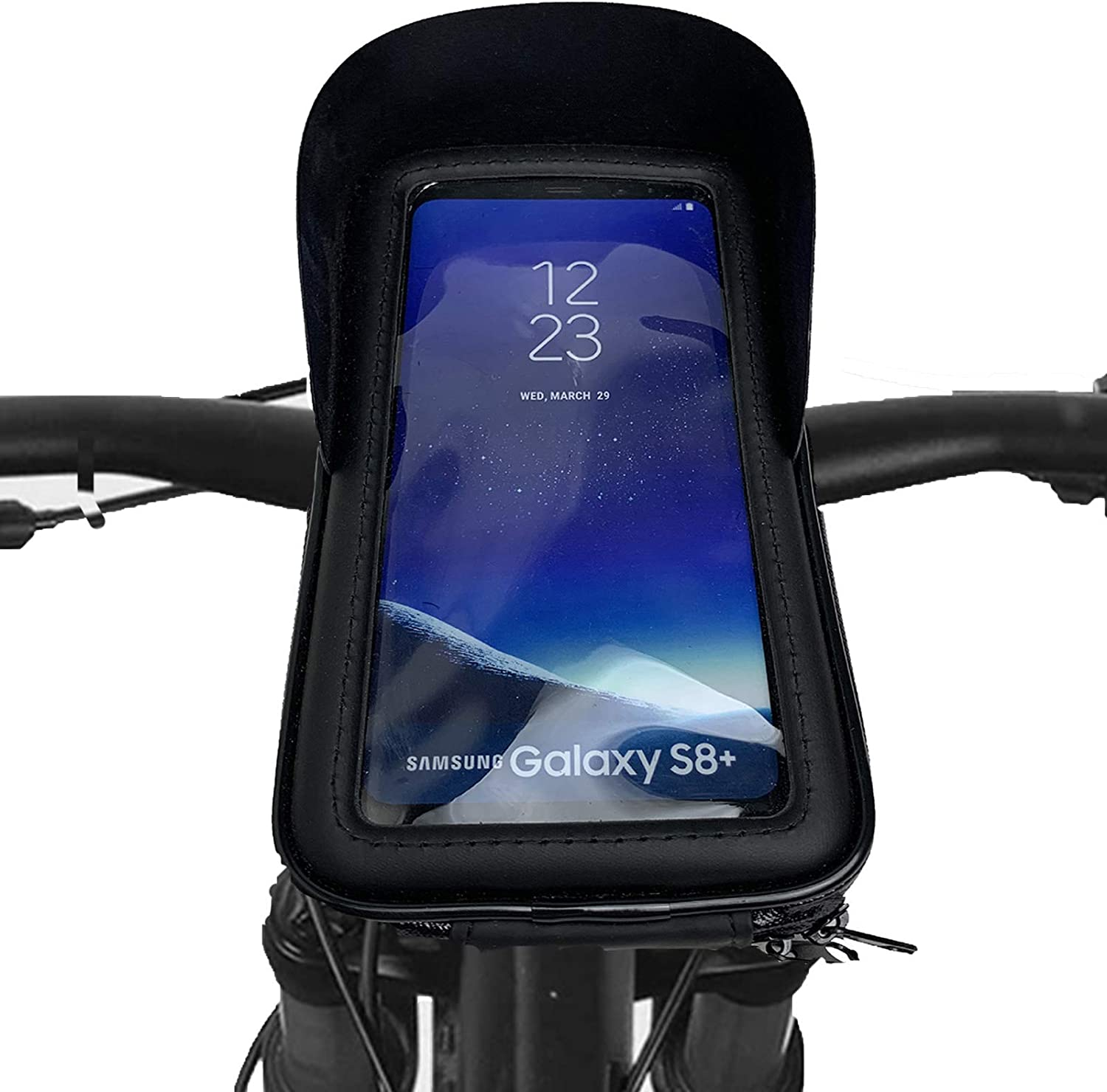 Bike Phone Mount Accessories Bag, Waterproof Bicycle Motorcycle Front Handlebar Frame Case Pouch Pack Mountain Top Tube with Touch Screen,360°Rotation for iPhone & Android Below 6.5""