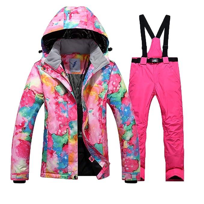 Hombre Mujer Trajes de esquí Invierno Protección contra el frío Manténgase abrigado Traje de montañismo Chapa Doble Chaqueta esquí Pantalones, código M, ...
