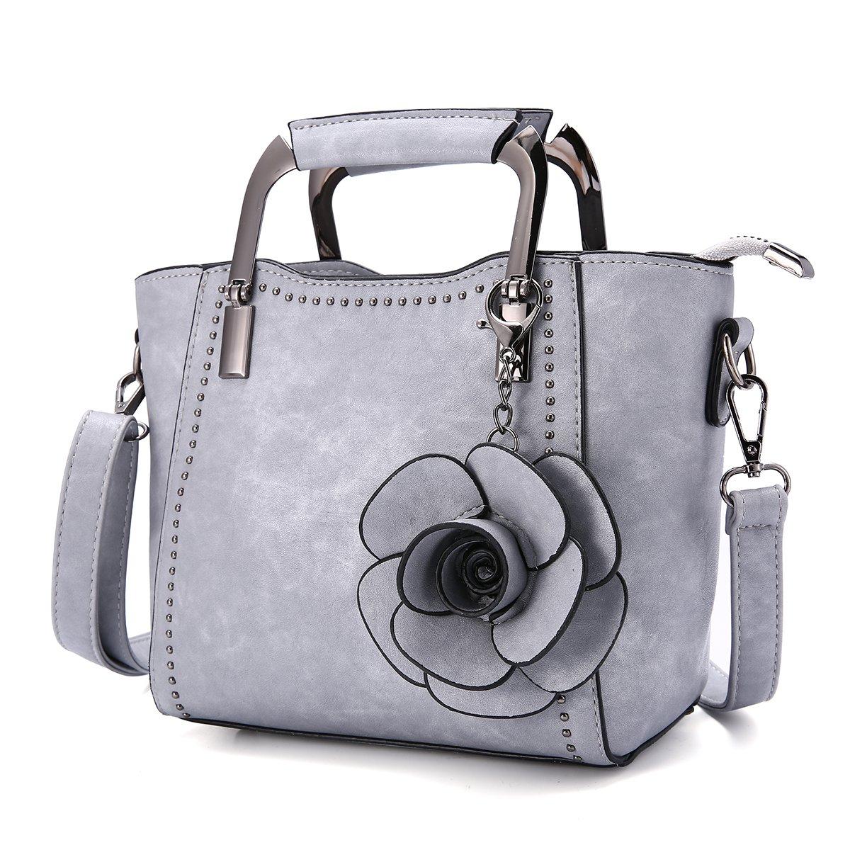 Top-Handle Bags, JOSEKO Women PU Leather Retro Rose Handbag Mini Crossbody Bag Grey 7.48''(L) x 3.94''(W) x 7.09''(H)