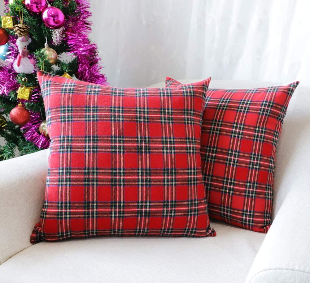 4TH Emotion Set of 2 Christmas Scottish Tartan Plaid Throw Pillow Covers Cushion Case Cotton Polyester for Farmhouse Home Decor Red and Green, 18 x 18 Inches