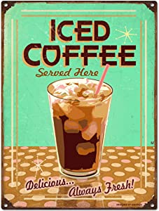 Unoopler TIN Sign Iced Coffee Metal Decor Wall Art Store Shop Kitchen 12 x 16 inch