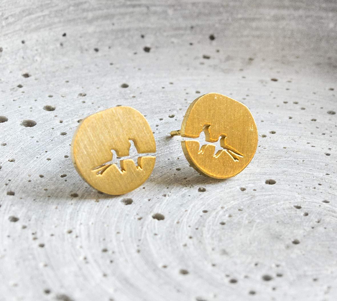 Zwei V/ögel Ohrstecker Goldfarben