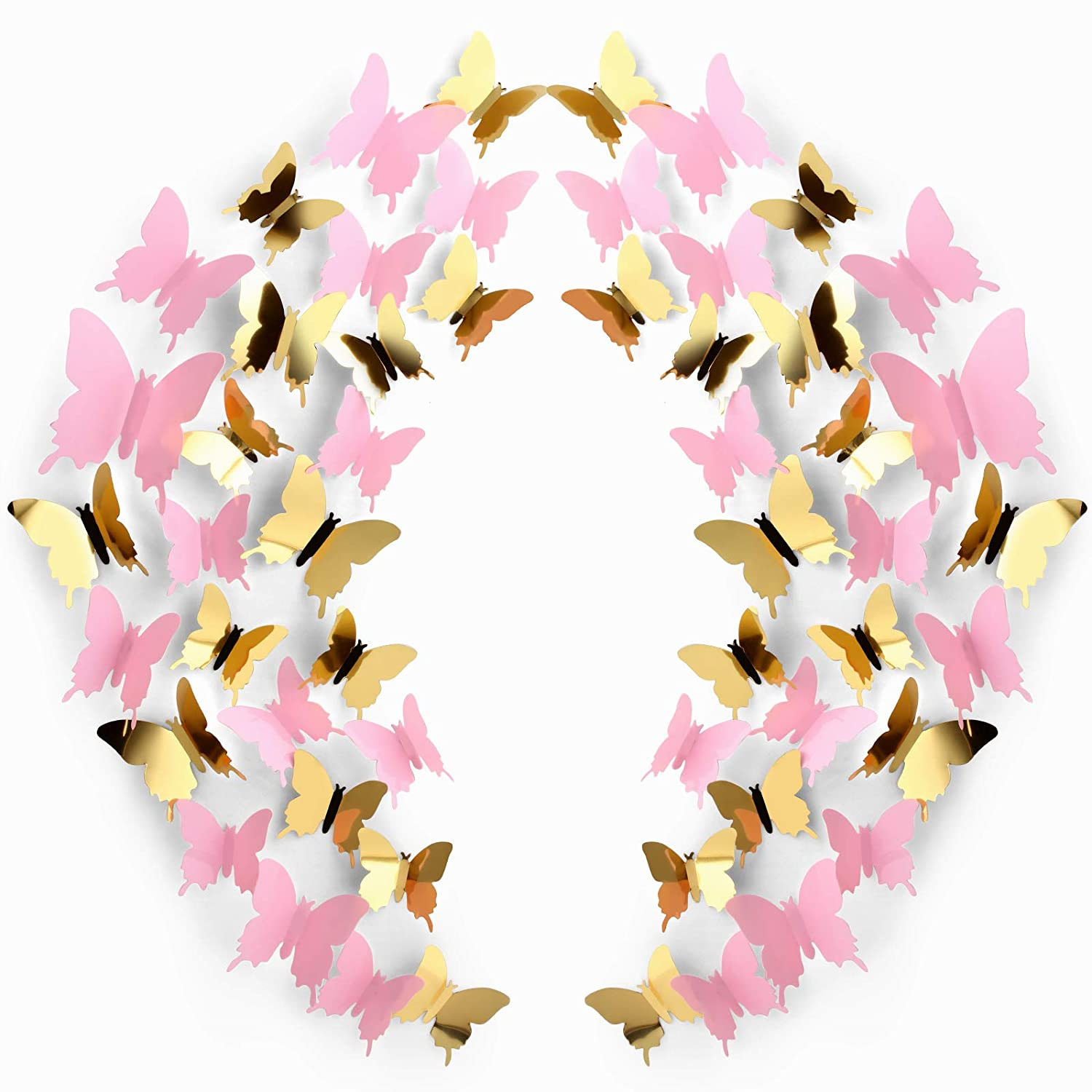 120 Pieces 3D Butterfly Wall Stickers 3 Sizes Removable Butterfly Mural Decals for Baby Kids Room Wedding Home Fridge DIY Art Decor (Pink, Gold)