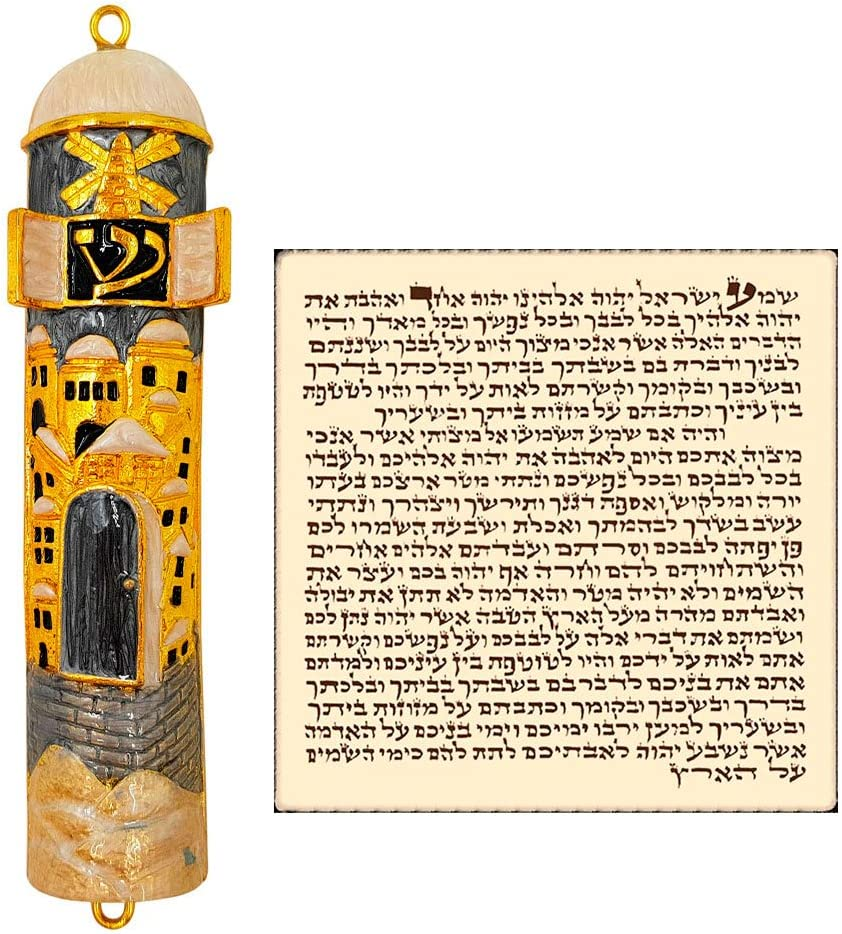 Gray TALISMAN4U Enamel Jewish MEZUZAH CASE with Scroll Hebrew Parchment Jerusalem City Design Judaica Door Mezuza from Israel 4