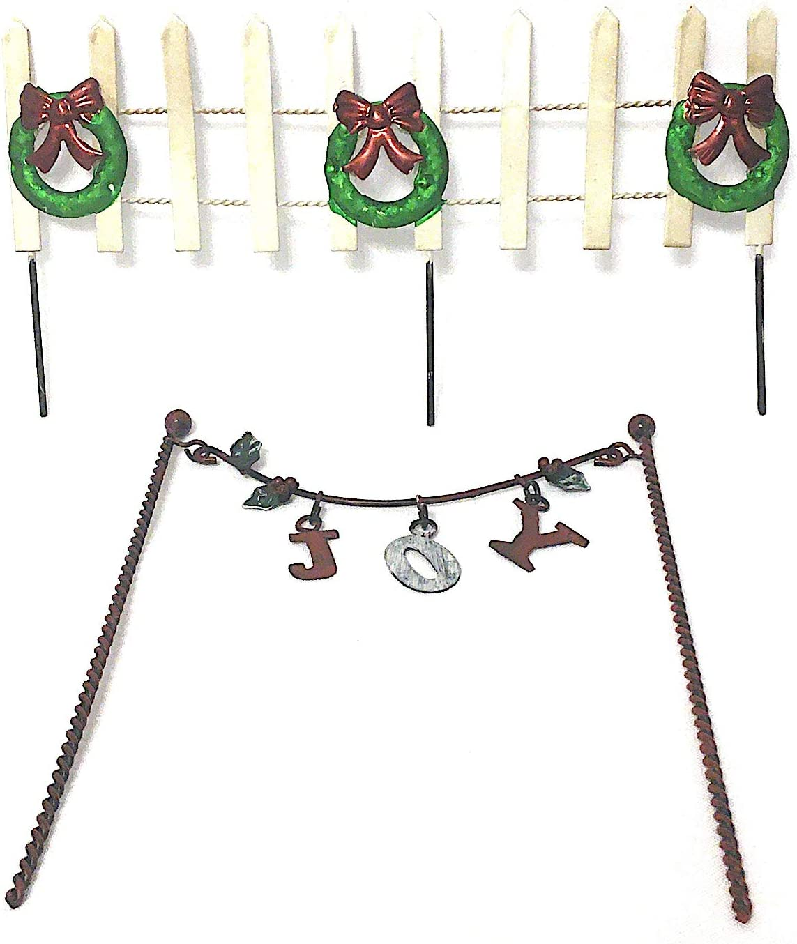 Miniature Fairy Garden, Doll House or Home Decor Christmas Decorations: Metal Joy Banner and Fence with Wreaths - Perfect for Indoors or Out