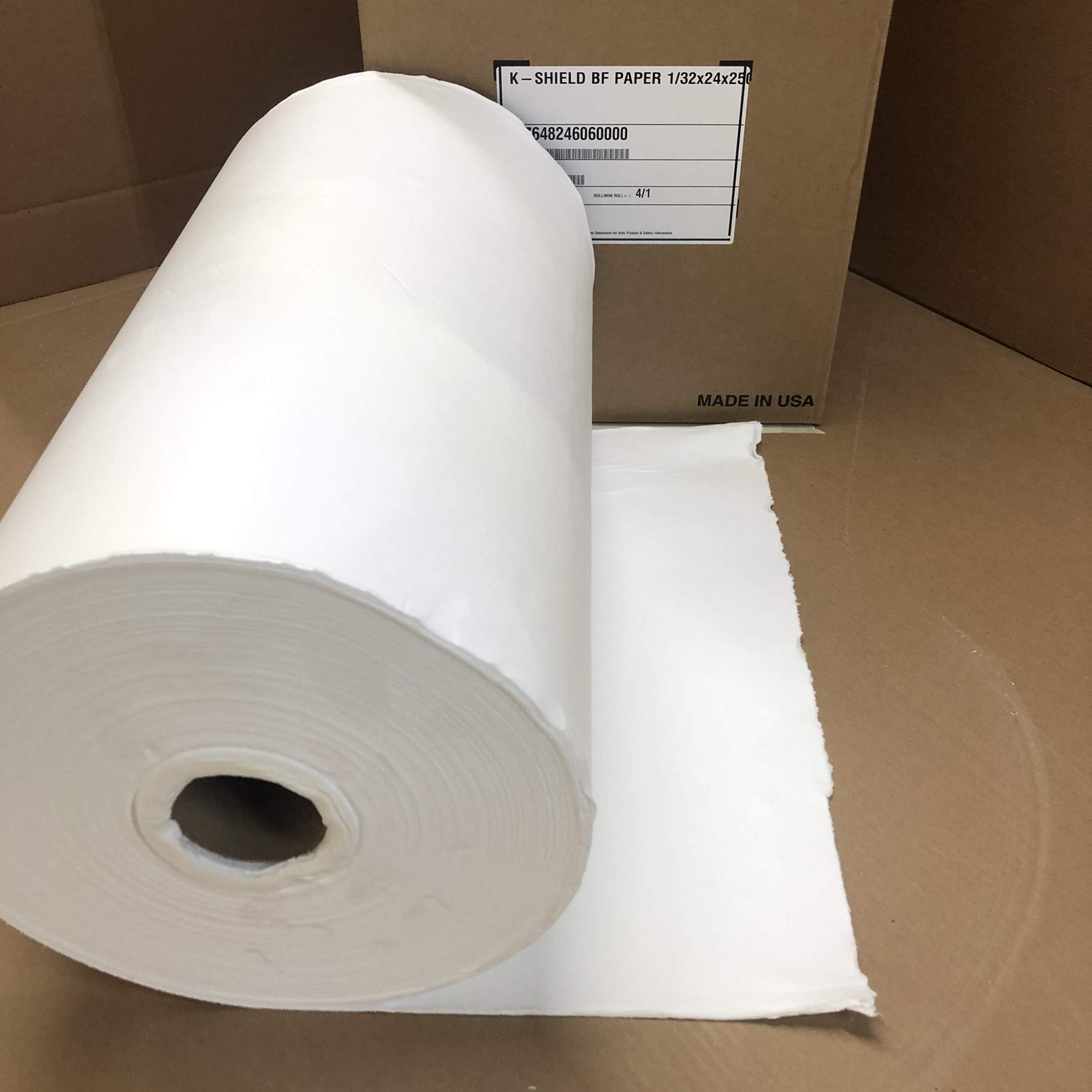 Lynn Manufacturing 1/32'' Thick, K Shield BF Paper, Binder Free, Morgan Thermal Ceramics, 2300F Rated, 24'' Wide, 250 Ft. Long