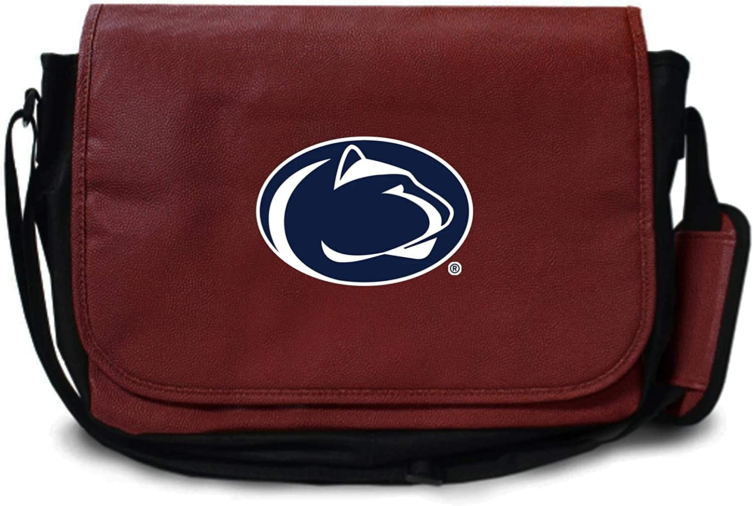Penn State Nittany Lions Football Leather Laptop Computer Case Messenger Shoulder Bag - made from the same materials as a football - Brown