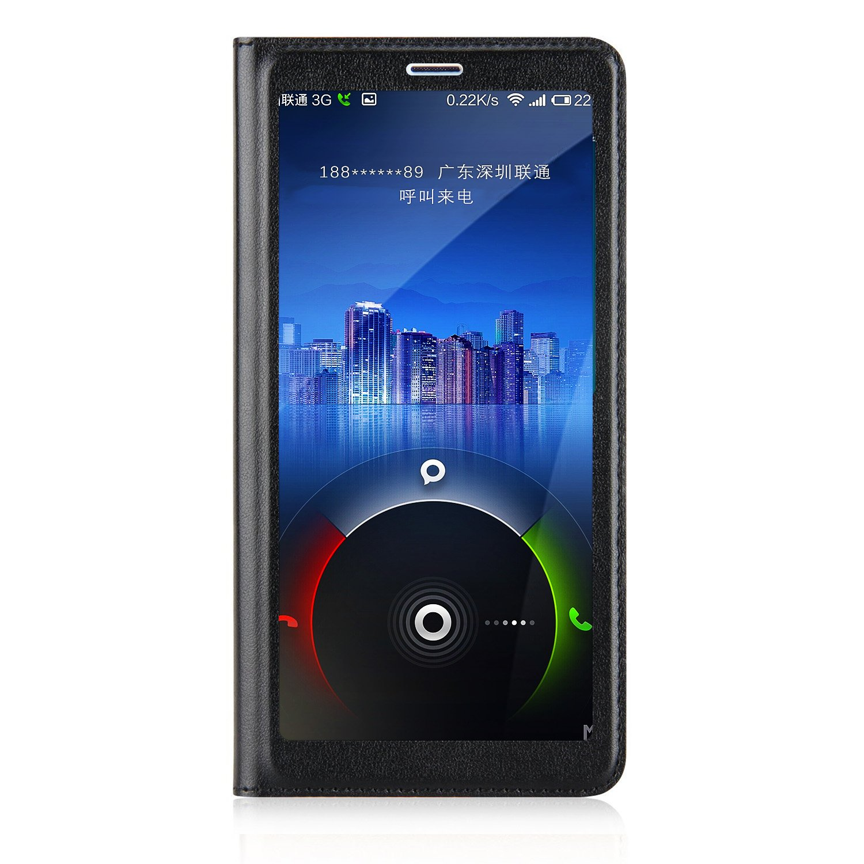 Funda de piel con tapa y tapa de ventana Ambaiyi Flip para Huawei Mate 10 Lite, tapa Huawei Mate 10 Lite, negro