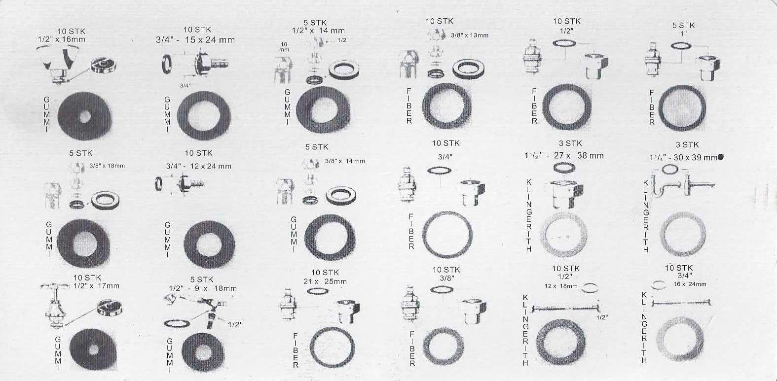 141-pc. Faucet Washer Assortment Kit, 18 Differnt Assorted Sizes