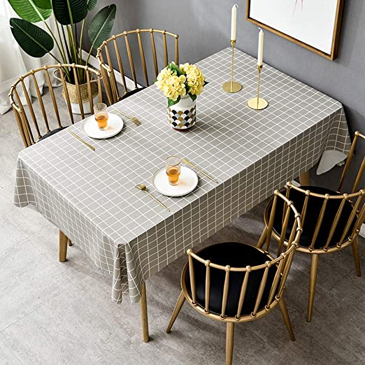 Mantel Mesa Rectangular Efecto Lino Impermeable Diseño de Comedor ...