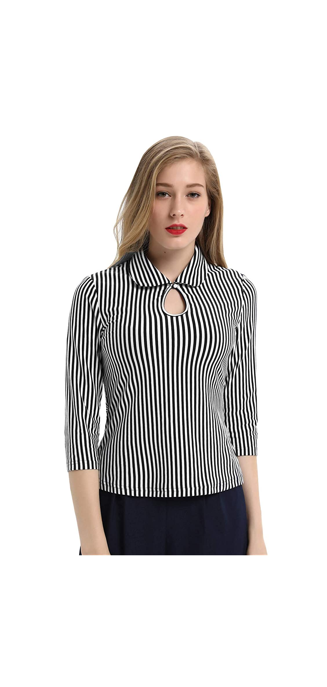 Womens / Sleeve Vintage Blouse Stretch Stripe Top With Bow Tie