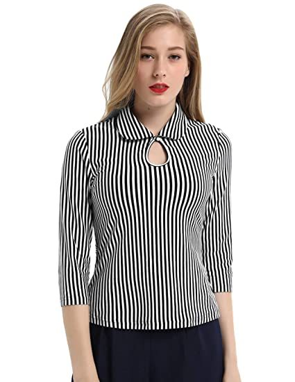76e553bcc4a4c7 Womens 3/4 Sleeve Vintage Blouse Stretch Stripe Top with Bow Tie ...