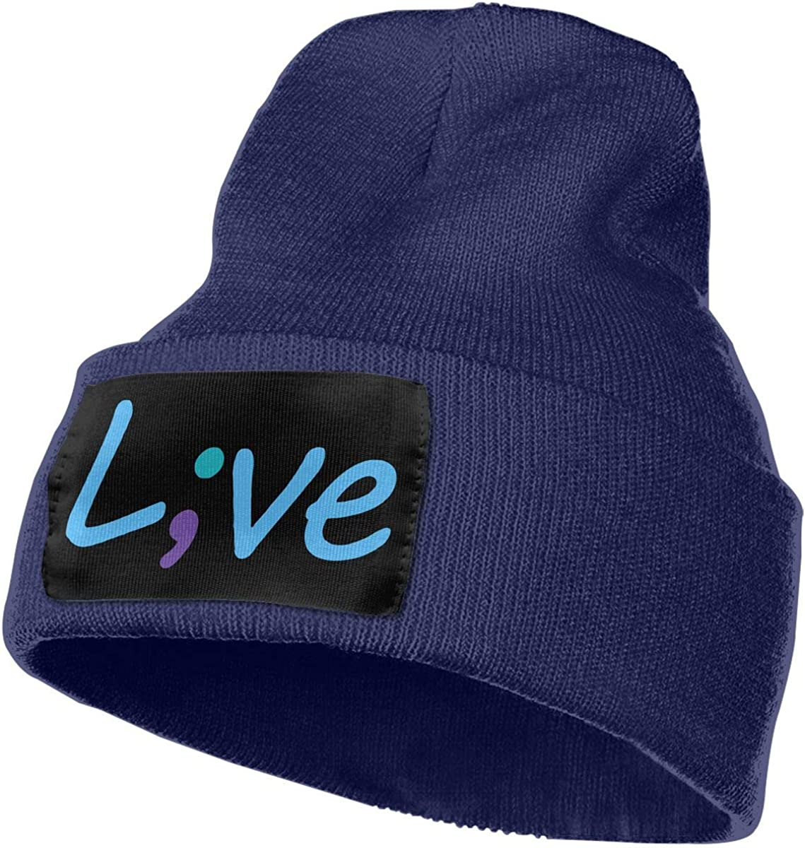 Suicide Prevention Awareness Live Love Semicolon Men Women Knitting Hats Stretchy /& Soft Skull Cap Beanie