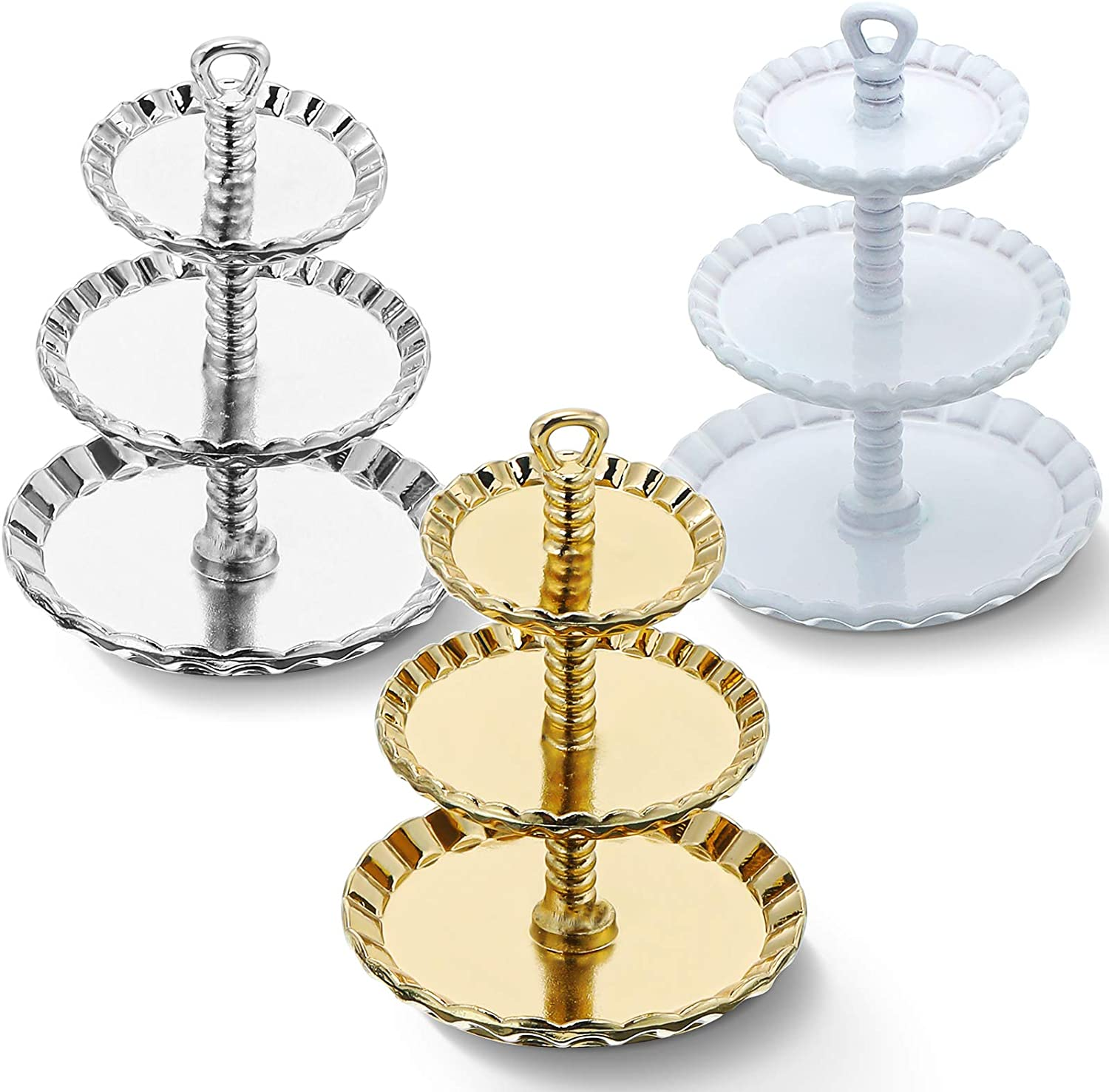 3 Pieces Dollhouse Cupcake Stand Timeless Miniature 3-Tier Dessert Tower Alloy Mini Cake Stand Tea Time Pastry Tower Dollhouse Food Display Holder Dollhouse Kitchen Accessories for Dollhouse Decors