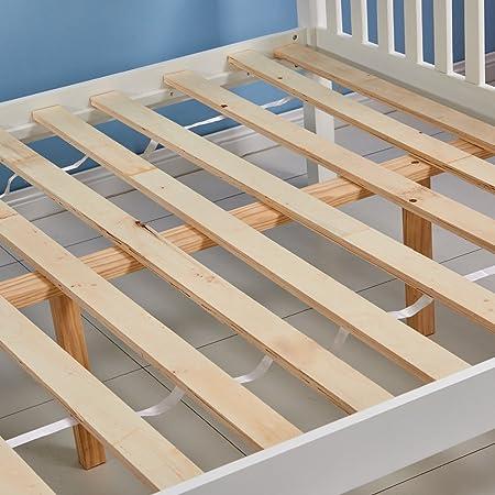 Litera infantil Tason de madera de pino maciza y color blanco, diseño moderno, con una cama individual sobre una doble: Amazon.es: Hogar
