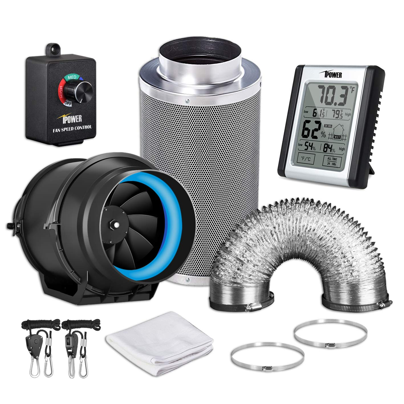 iPower GLFANXEXPSET6D8CHUMD 6 Inch 350 CFM Inline Filter 8 Feet Ducting with Fan Speed Controller and Temperature Humidity Monitor and Grow Tent Ventilation, Black